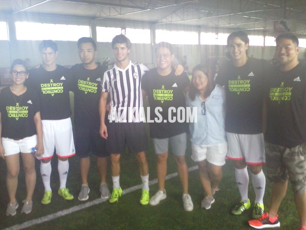Friends and fans take an opportunity for a photo op with those who got to try the new adidas X15 and adidas Ace15. (JP Abcede)