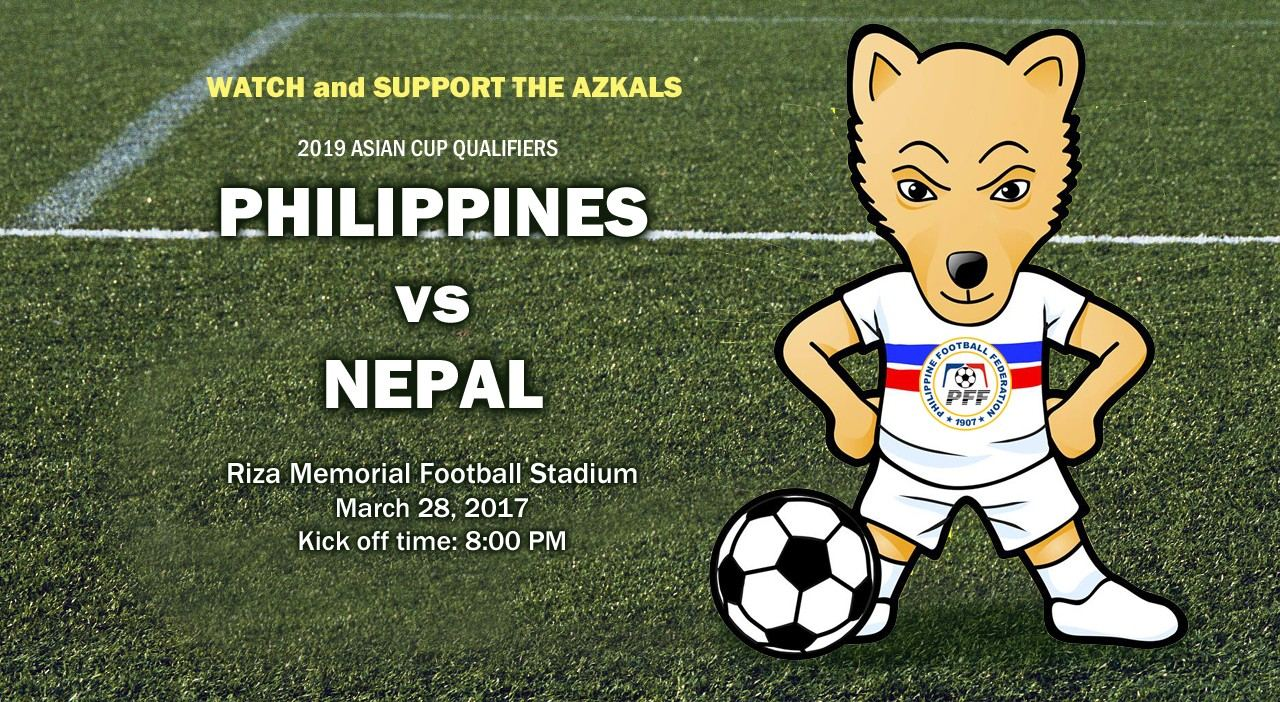Philippines vs Nepal for Asian Cup Qualifiers and Ticket information