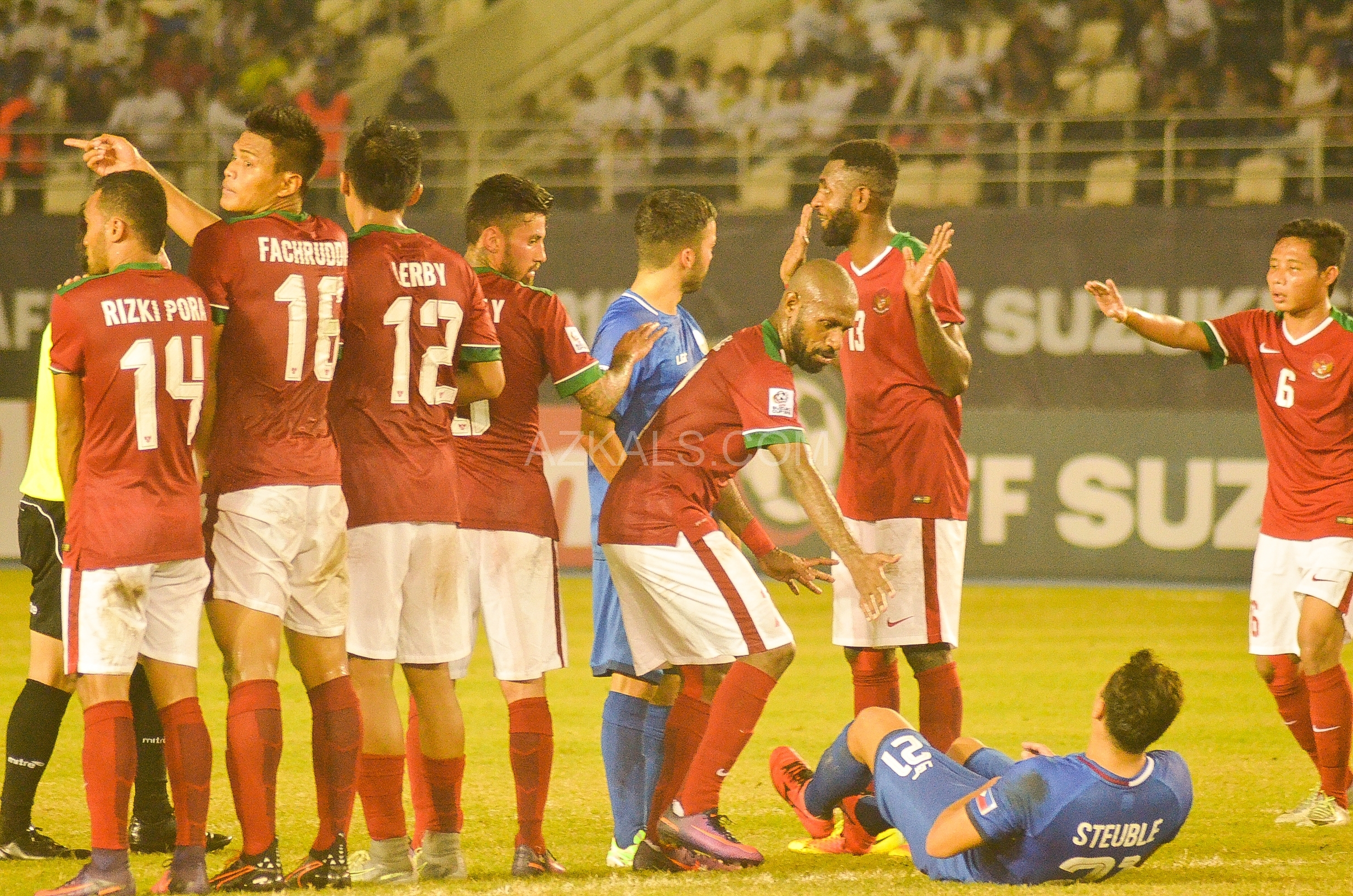 Steuble was elbowed by the number 13 player of Indonesia.